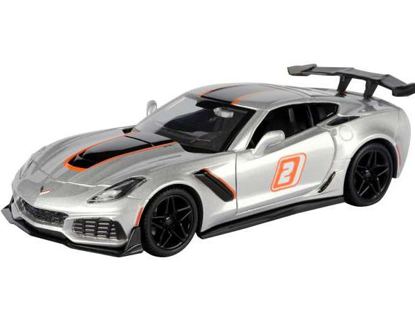 "hevrolet Corvette ZR1 2019 #2 Silver with Black and Orange Stripes ""GT Racing"" 1-24 Motormax"