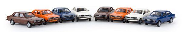 Set met 8x Audi 80 Modellen Diversen Kleuren 1-87 Brekina Economy Serie