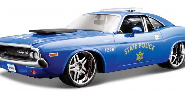 "Dodge Challenger R/T 1970 Coupe ""State Police"" Blauw 1-24 Maisto Design"