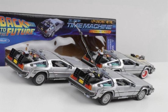 Back to The Future Set ( 3 Cars ) De Lorean Time Machine Trilogy Pack 1-24 Welly