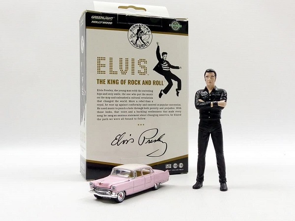 Cadillac Fleetwood 1955 Series 60 ( 1-64 )with Elvis Presley Figure 1-18 Pink Greenlight Collectibles