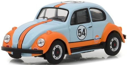 """Volkswagen Beetle #54 """"Gulf Oil"""" Light Blue and Orange """"Running on Empty Series 1"""" 1-43 Greenlight Collectibles"""