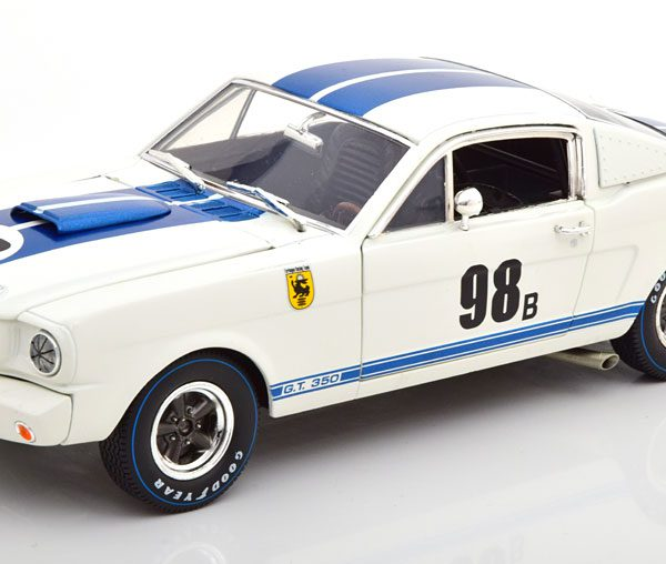 Ford Mustang Shelby GT 350R No.98b, Terlingua Racing 1965 Wit / Blauw 1-18 Shelby Collectibles