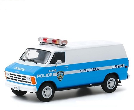 Dodge Ram B250 Van 1987 New York Police Department ( NYPD ) Wit / Blauw 1-43 Greenlight Collectibles