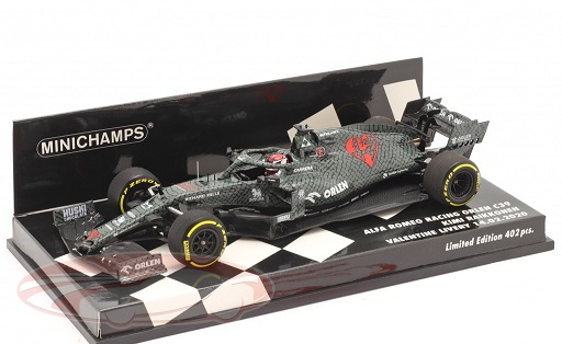 Alfa Romeo Racing C39 #7 Testcar Fiorano Shakedown 2020 ( Valentine Livery 14-2-2020 ) Kimi Räikkönen 1:43 Minichamps Limited 402 pcs