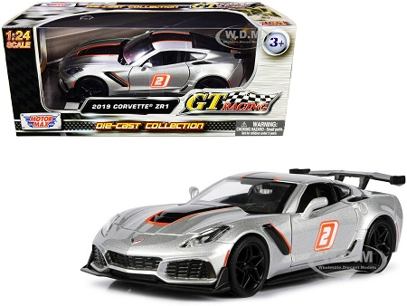 "2019 Chevrolet Corvette ZR1 #2 Silver with Black and Orange Stripes ""GT Racing"" Series 1/24 Diecast Model Car by Motormax"