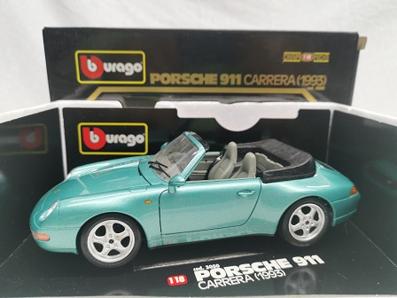 Porsche 911 Carrera Cabriolet 1993 ( 993 ) Groen Metallic 1-18 Burago