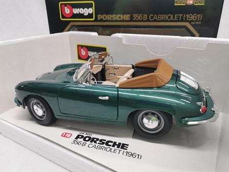 Porsche 356B Cabriolet 1961 Groen Metallic 1-18 Burago ( Zeldzaam )