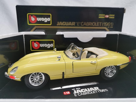 Jaguar E-Type Cabriolet 1961 Geel 1-18 Burago
