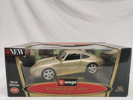 Porsche 911 Carrera Coupe 1993 ( 993 ) Goud Metallic 1-18 Burago