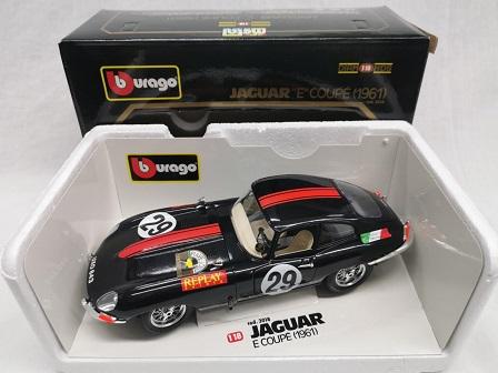 Jaguar E-Type Coupe Rally #29 Zwart 1-18 Burago ( Zeldzaam )