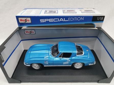Chevrolet Corvette 1965 Blauw Metallic 1-18 Maisto