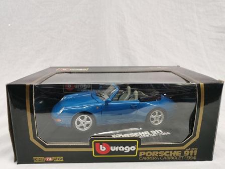 Porsche 911 Carrera Cabriolet 1994 Blauw 1-18 Burago