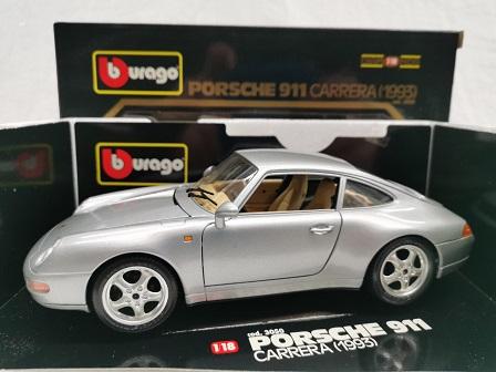 Porsche 911 Carrera Coupe 1993 ( 993 ) Zilver 1-18 Burago
