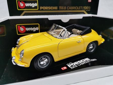 Porsche 356B Cabriolet 1961 Geel 1-18 Burago