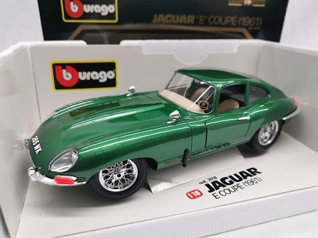 Jaguar E-Type Coupe 1961 Groen Metallic 1-18 Burago