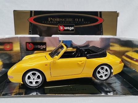 Porsche 911 Carrera Cabriolet 1994 ( 993 ) Geel 1-18 Burago