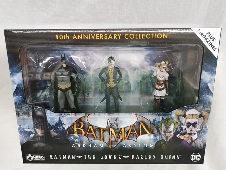 DC Comic Batman Arkham Asylum 10th Anniversary Collection: Batman - The Joker - Harley Quinn Plus Magazines Eaglemoss Hero Collector
