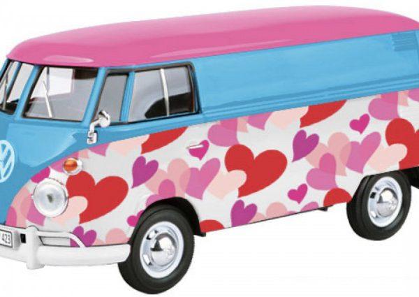 Volkswagen T1 Type 2 Delivery Van ( Love ) Roze/Blauw/Wit 1-24 Motormax