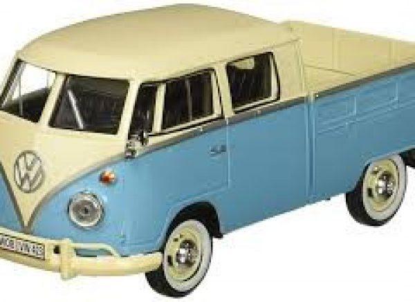 Volkswagen T1 Type 2 Double Cab Pick Up Blauw / Creme 1-24 Motormax