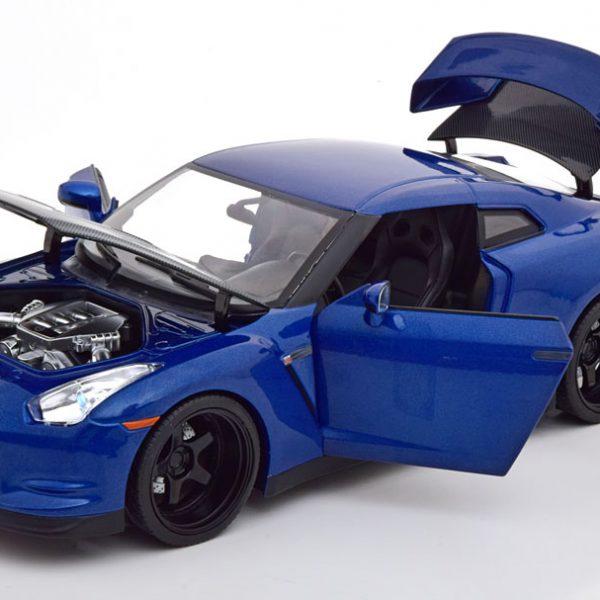 "Nissan GT-R (R35) ""Fast & Furious"" Brian ( Inkl. Figuur ) met Led Verlichting Blauw Metallic 1-18 Jada Toys"