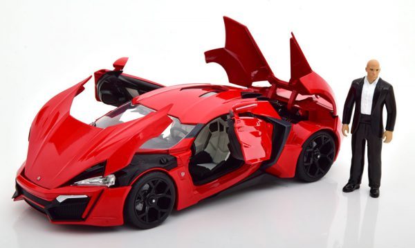 """Lykan Hypersport """"Fast & Furious"""" Dom ( Inkl. Figuur ) met Led Verlichting Rood 1-18 Jada Toys"""