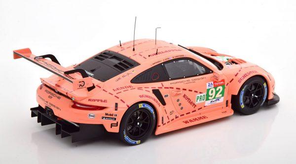 Porsche 911 (991) GT3 RSR No.92, 24Hrs Le Mans 2018 ( Pink Pig Tribute 70 Jaar Porsche ) Christensen/Estre/Vanthoor Roze 1-18 Ixo Models