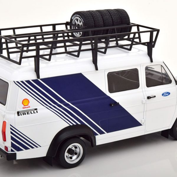 """Ford Transit MKII """"Ford Racing"""" Wit / Blauw 1-18 Ixo Models"""