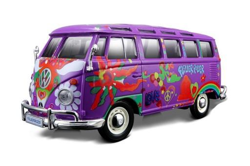 """Volkswagen Van Samba """"Hippie Line"""" 1-25 Paars Maisto"""