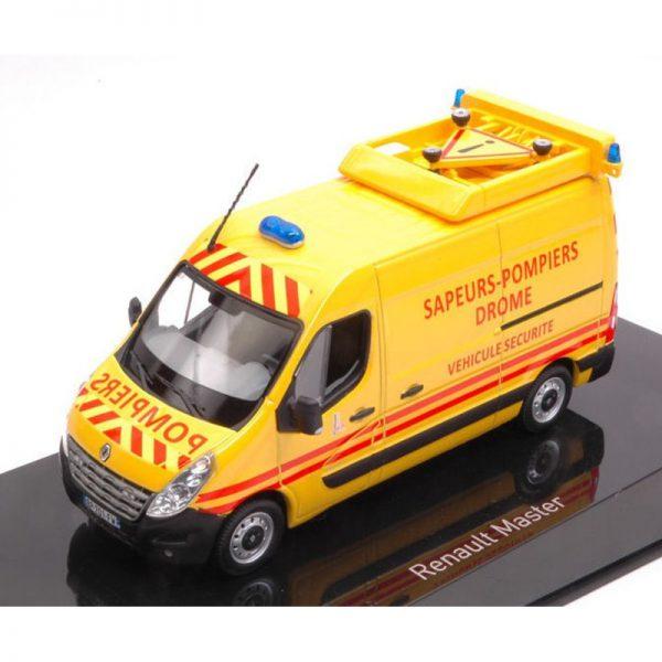 """Renault Master 2011 """"Pompiers Véhicule Sécurité"""" Geel / Rood 1-43 Norev"""