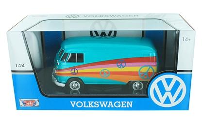 Volkswagen T1 Type 2 Delivery Van ( Peace ) Turquoise/rood 1-24 Motormax