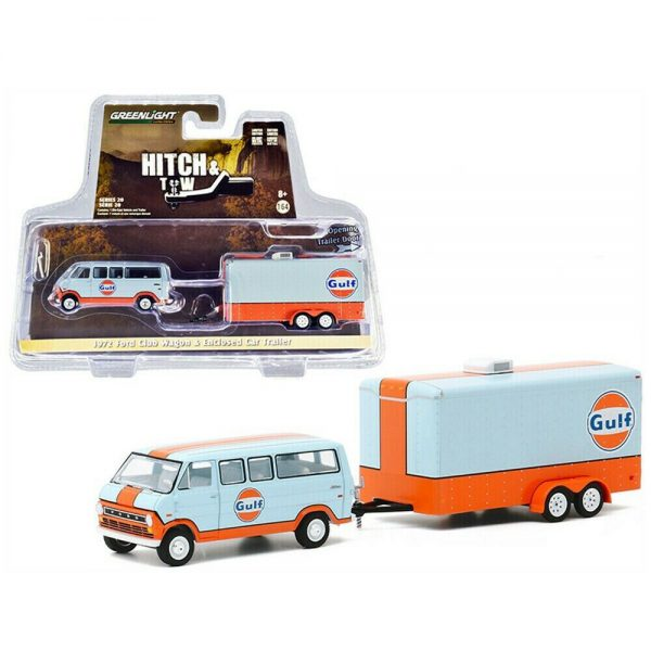 Ford Club Wagon Gulf Oil with Enclosed Car Trailer - Hitch & Tow 20, 1/64 Greenlight Collectibles