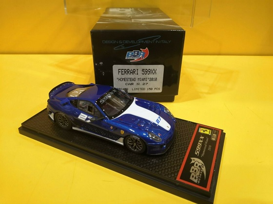 Ferrari 599XX #27 Homestead Miami 2010 Blue / White 1-43 BBR Models Limited 150 Pieces