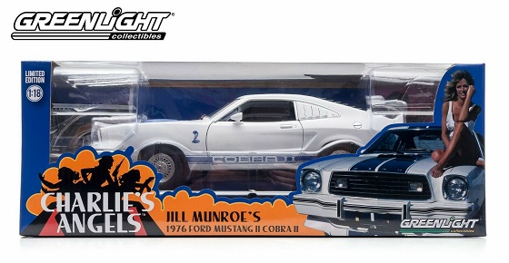 """Ford Mustang II Cobra II 1976 """"Charlie's Angels"""" Jill Munroe's Wit / Blauw 1-18 Greenlight Collectibles"""