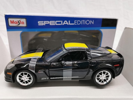 Chevrolet Corvette Z06 GT1 (Zwart/Geel) 1/24 Maisto - Modelauto - Schaalmodel - Model auto