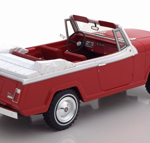 Jeep Jeepster Commando Cabrio 1970 Rood / Wit 1-18 BOS Models Limited 252 Pieces