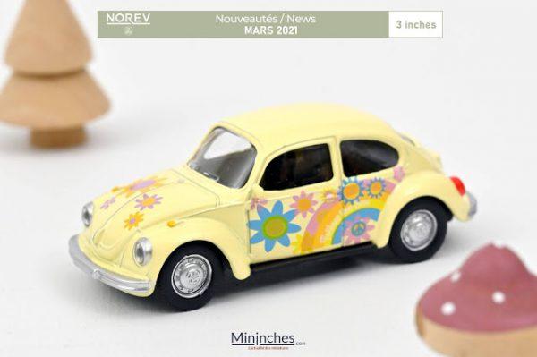 """Volkswagen Beetle 1303 1973 """"Peace & Love"""" Geel 1-64 Norev"""
