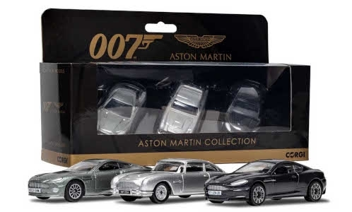 Aston Martin ( Set 3 Stuks ) James Bond 007 Collection DB5, DBS, V12 Vanquish Zilver / Grijs 1/36 Corgi