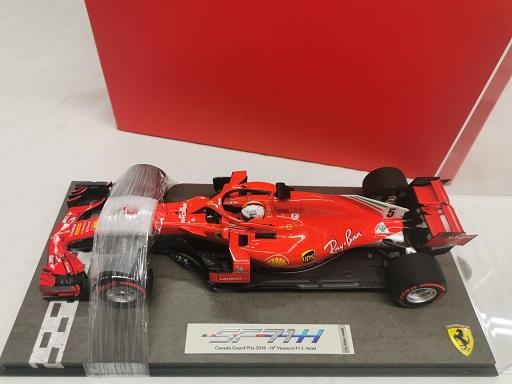 Ferrari SF71-H GP Winner Canada 2018 Sebastian Vettel ( 50th Victory F1 ) 1-18 BBR Models met Vitrine Limited 250 Pieces