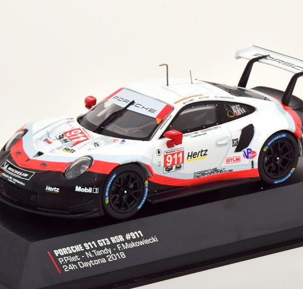 Porsche 911 (991) GT3 RSR No.911, 24h Daytona 2018 Pilet/Tandy/Makowiecki 1-43 Ixo Models