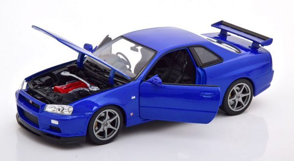 Nissan Skyline GT-R R34 Blauw 1-24 Welly