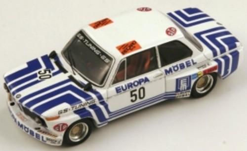 BMW 2002 No.50 Winner Hockenheim 1974 Jorg Obermoser Wit/Blauw 1-43 Spark Limited 500 pcs.