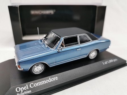 Opel Commodore A 1966 Blauw Metallic 1-43 Minichamps Limited 1008 Pieces