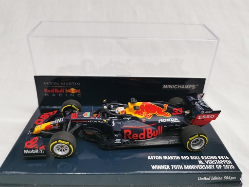 Aston Martin Red Bull Racing RB16 Winner Silverstone 2020 ( 70th Anniversary GP 2020 ) Max Verstappen 1-43 Minichamps Limited 504 Pieces