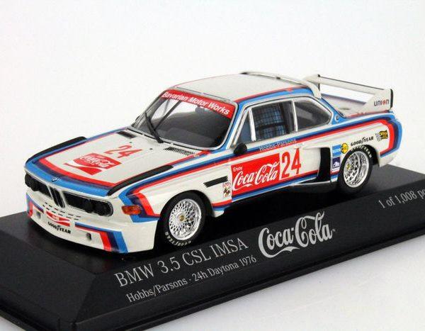 "BMW 3.5 CSL IMSA #24 ""Coca Cola"" 24h Daytona 1976 Drivers: Hobbs/Parsons 1-43 Minichamps Limited 1008 pcs."