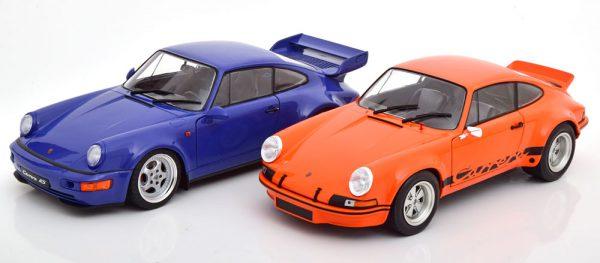 Porsche Set met 2 modellen ( Porsche 911 RSR en 911 (964) RS ) Oranje / Zwart en Blauw 1-18 Solido