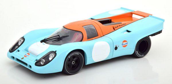 """Porsche 917K 1971 Version 3 ( zonder nummer ) """"Gulf"""" Lichtblauw / Oranje 1-18 CMR Models"""