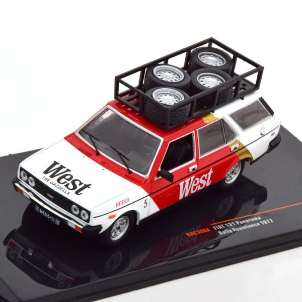 """Fiat 131 Panorama """"West Assistance"""" 1977 Wit / Rood 1-43 Ixo Models"""