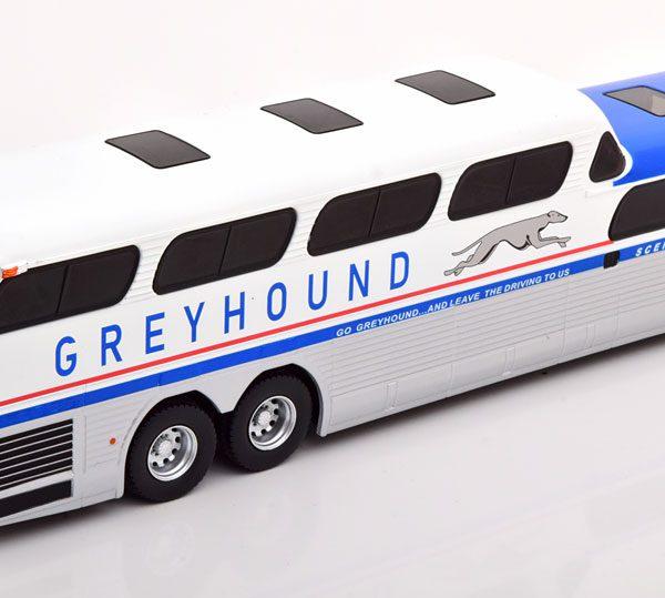 GMC Scenicruiser Greyhound 1956 Zilver / Blauw / Wit 1-43 Ixo Models