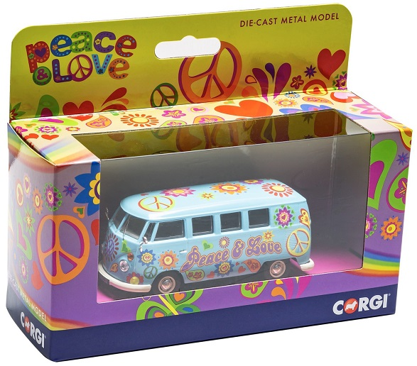 "Volkswagen T1 Campervan ""Peace , Love and Freedom Blauw 1-43 Corgi"